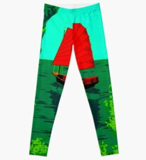 """VIETNAM"" Vintage Ha Long Bay Travel Print Leggings"