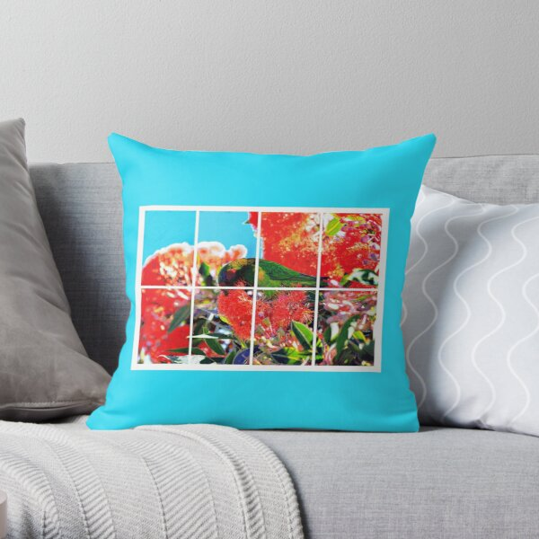 Drawing Musk Lorikeet in Red Flowering Gum Throw Pillow