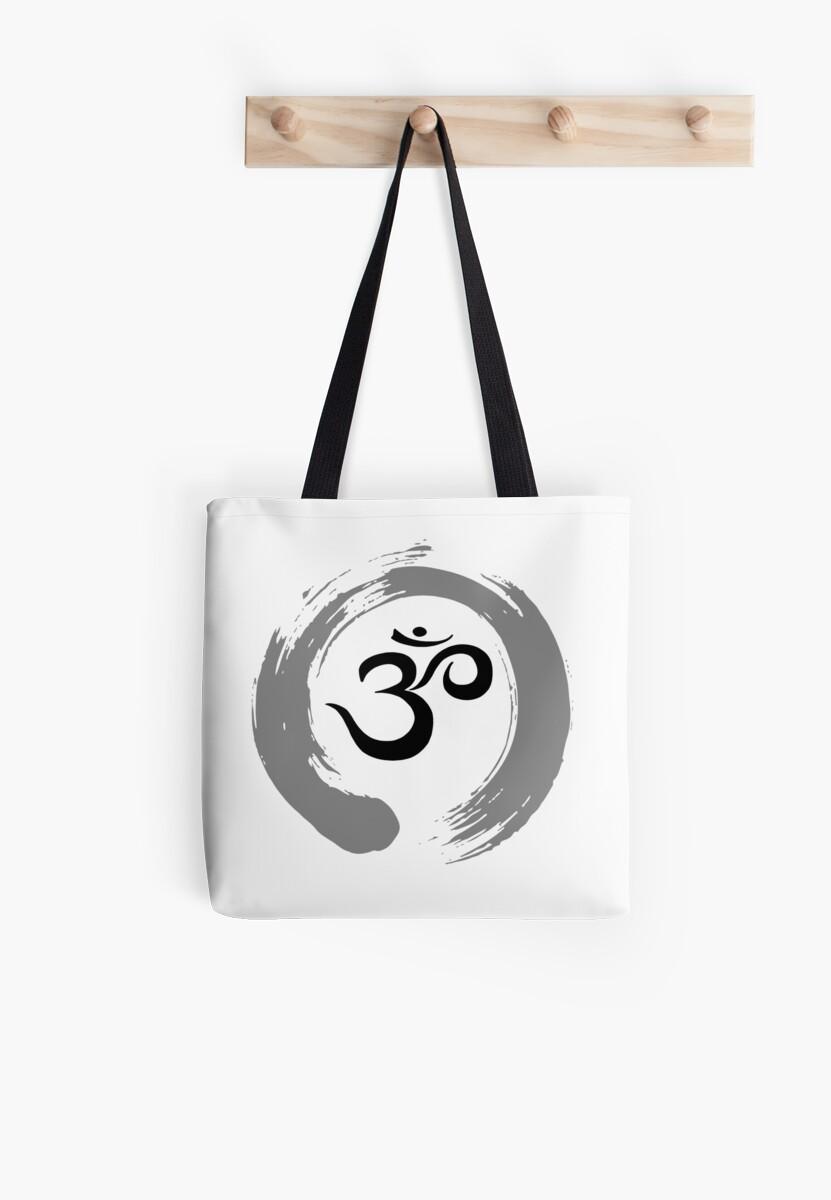 Ohm Sanskrit Symbol Zen Circle Namaste Peace Tote Bags By