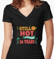 Hottest T-shirt For 26th Wedding Anniversary, Fashion Anniversary Gifts For Couple Women's Fitted V-Neck T-Shirt