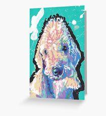 Bedlington Terrier Dog Bright colorful pop dog art Greeting Card