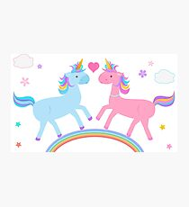 Cute Unicorn couple cartoon in pink blue on pastel rainbow  Photographic Print