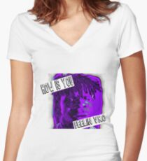 how is you feeling #3 -the slump god Women's Fitted V-Neck T-Shirt