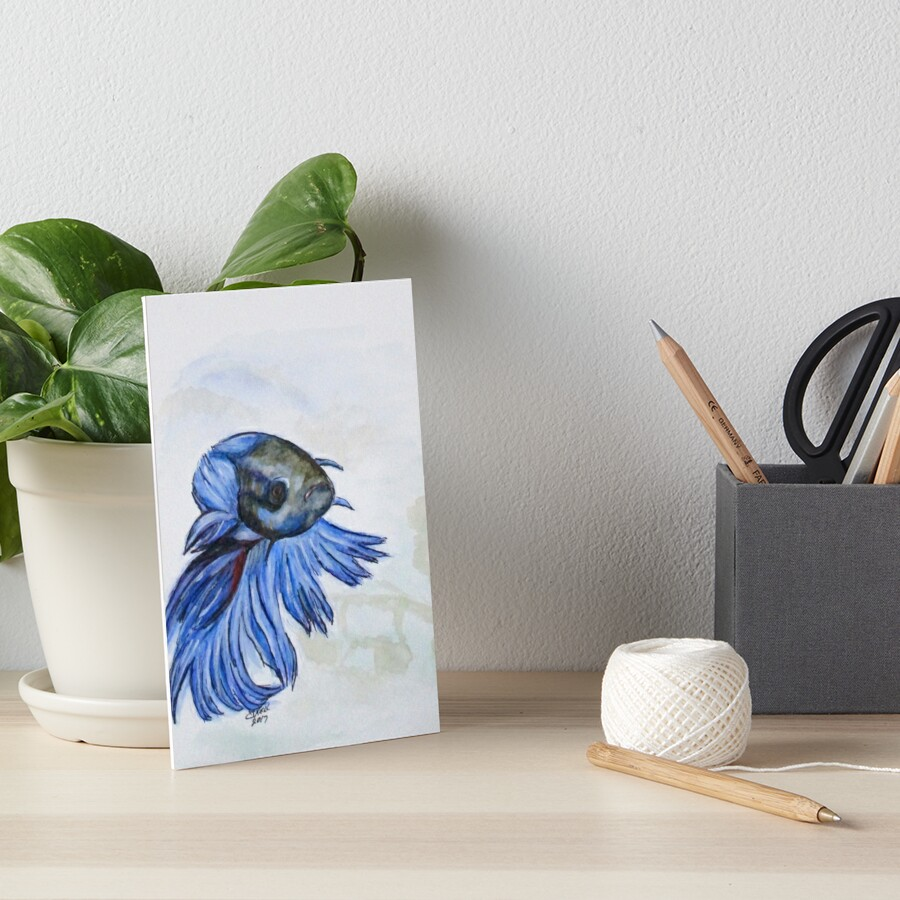 Ben Blue Betta Fish Art Board Print