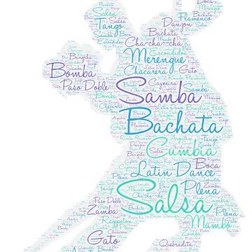 Latin Dance Word Art Blue Green Purple  by mlswig