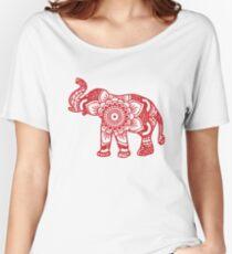 Mandala Elephant Red Women's Relaxed Fit T-Shirt
