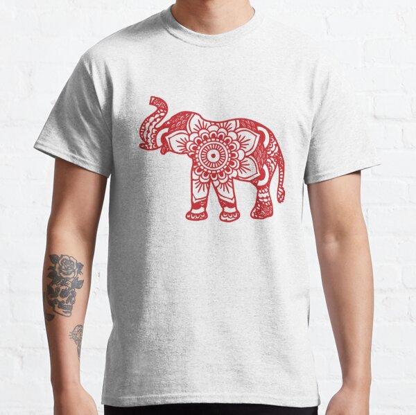 Mandala Elephant Red Classic T-Shirt