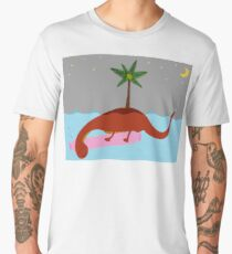 Cute smiling Loch Ness Monster cartoon, sleeping Nessie under water Men's Premium T-Shirt