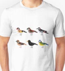 Illlustration set of cute European bird cartoons T-Shirt