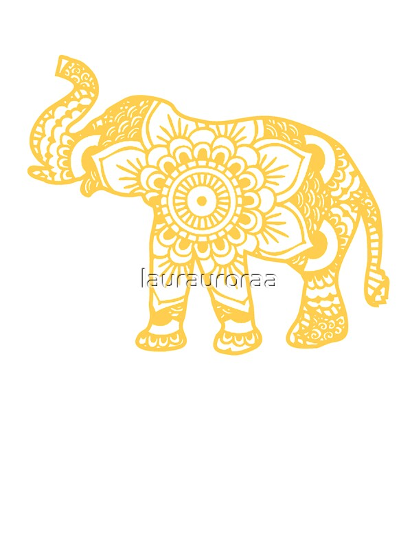 Quot Mandala Elephant Yellow Quot Stickers By Laurauroraa Redbubble