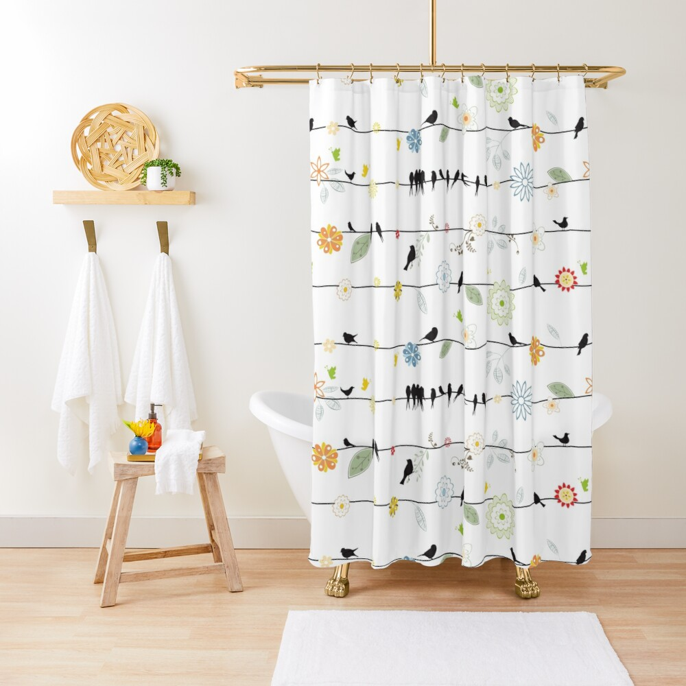Black Birds On A Wire with Flowers Shower Curtain