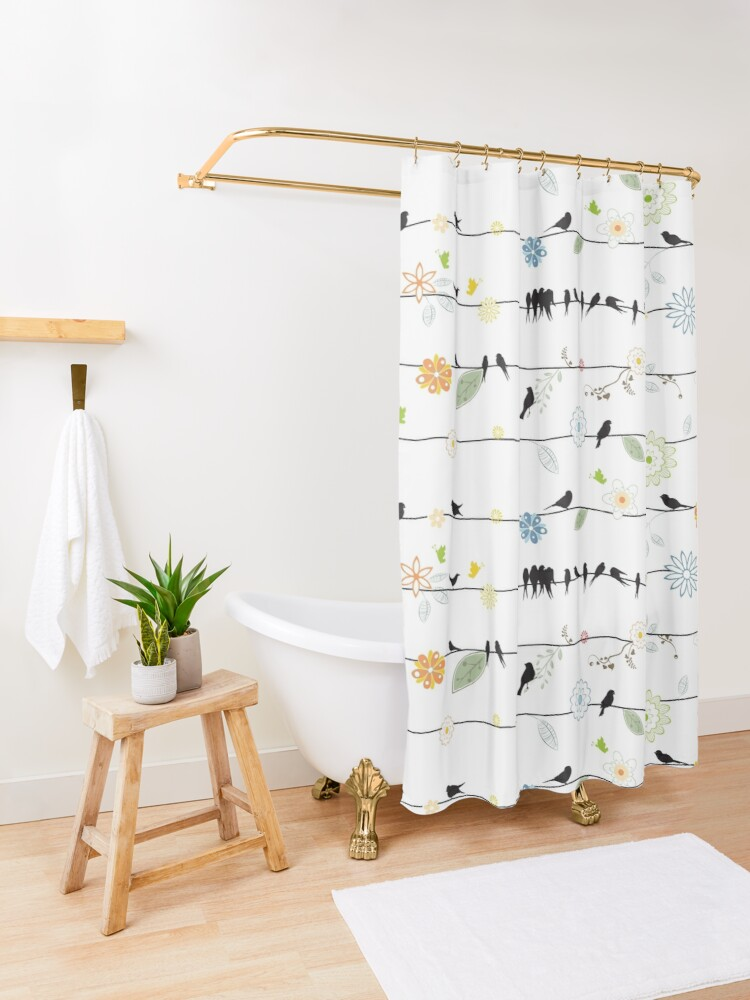 Alternate view of Black Birds On A Wire with Flowers Shower Curtain
