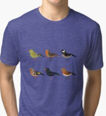 Illustration set of cute European bird cartoons Tri-blend T-Shirt