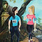 Running Girls Stop to Rest by Hannah Dosanjh