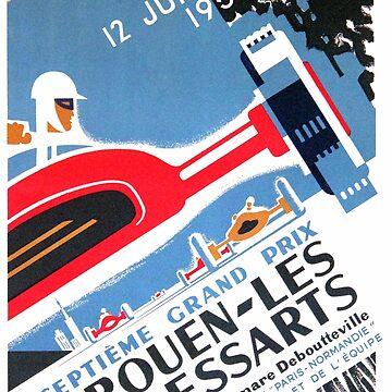 1959 Rouen Les Essarts Grand Prix Automobile Race Poster by retrographics