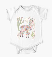 Cute Alpaca Pretty Colorful Dots Circles Bubbles Cactus Desert Graphic Design One Piece - Short Sleeve