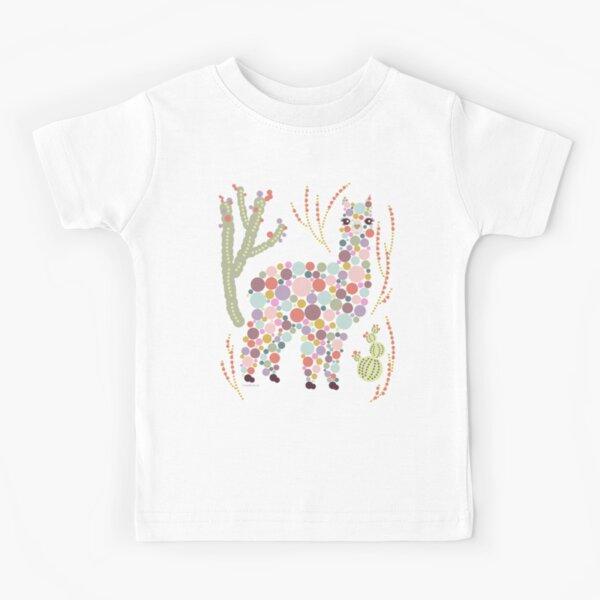 Cute Alpaca Pretty Colorful Dots Circles Bubbles Cactus Desert Graphic Design Kids T-Shirt