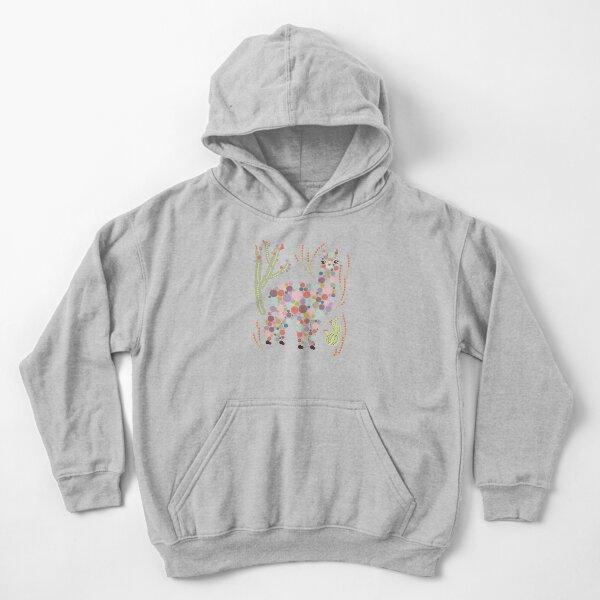 Cute Alpaca Pretty Colorful Dots Circles Bubbles Cactus Desert Graphic Design Kids Pullover Hoodie