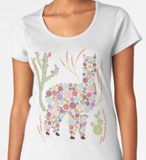 Alpaca Colorful Dots Circles Bubbles Cactus Desert Graphic Design Women's Premium T-Shirt