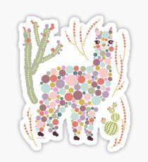 Alpaca Colorful Dots Circles Bubbles Cactus Desert Graphic Design Sticker