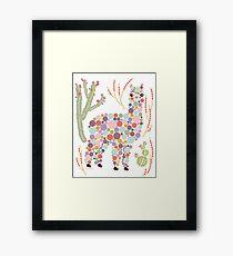Alpaca Colorful Dots Circles Bubbles Cactus Desert Graphic Design Framed Print