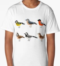 Illustration set of cute European bird cartoons Long T-Shirt
