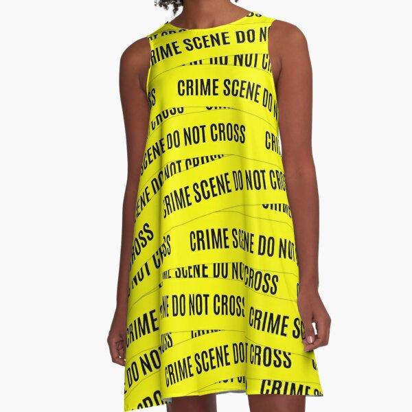 Crime Scene Tape Pattern A-Line Dress