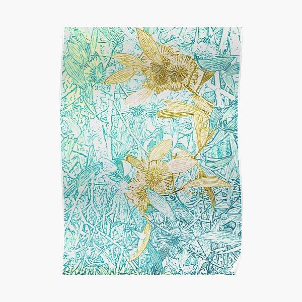 Hakea, Yellow Ochre and Aqua Blue Poster
