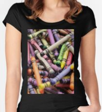 Crayons and Depth of Field Yum Women's Fitted Scoop T-Shirt