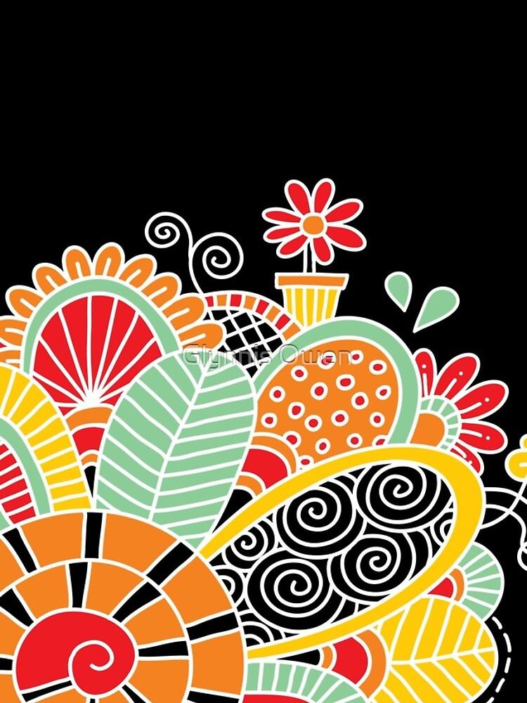 Cute Snail with Flowers & Swirls on Dark Background by goggo101