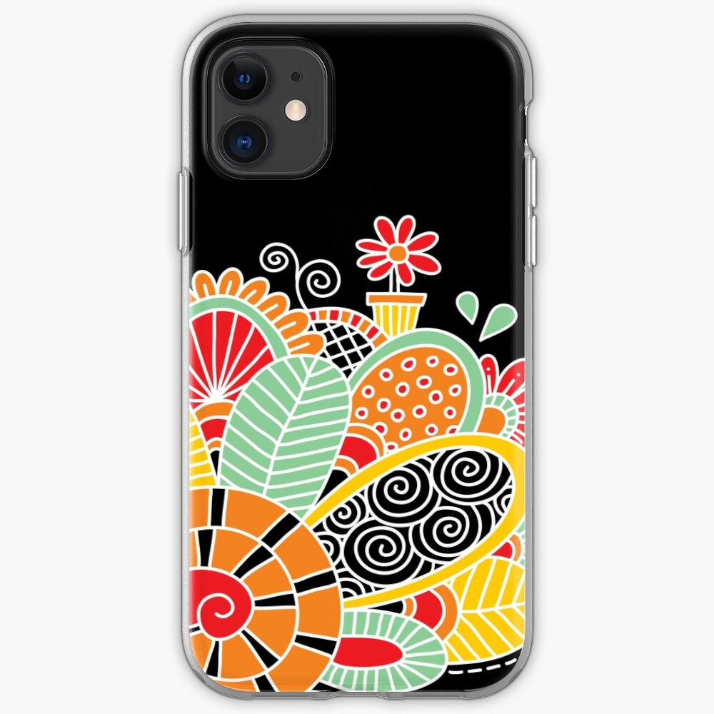 Cute Snail with Flowers & Swirls on Dark Background iPhone Case & Cover