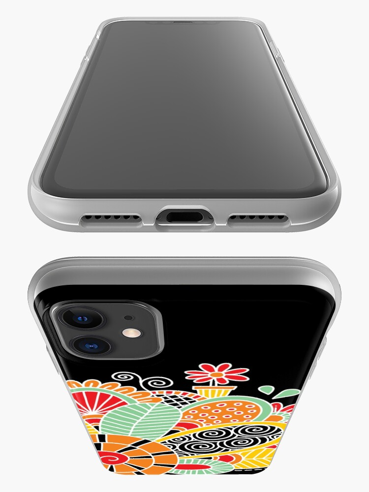Alternate view of Cute Snail with Flowers & Swirls on Dark Background iPhone Case & Cover