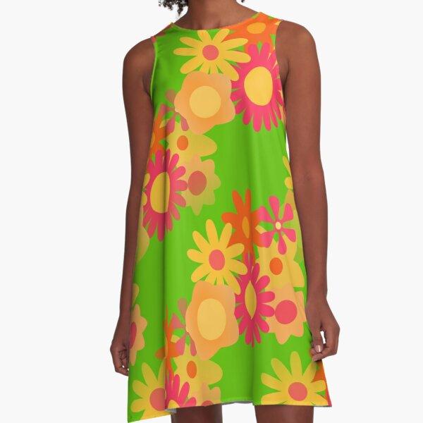 groovy mod floral  A-Line Dress