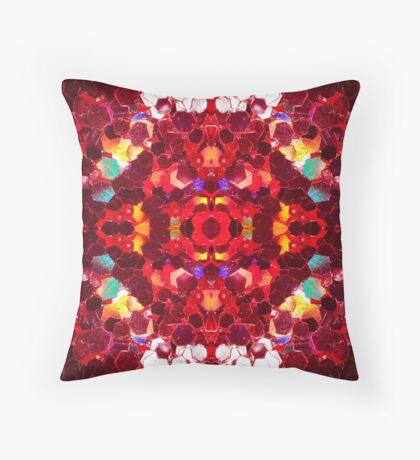Red abstract mosaic shiny glitter pattern Mandala Throw Pillow