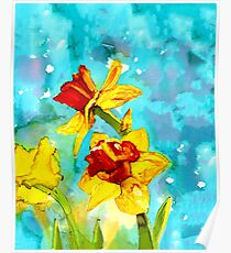 Daffodils in spring - painting in alcohol inks Poster