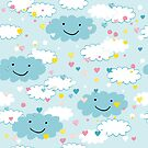 Children's pattern in happy clouds by grafart