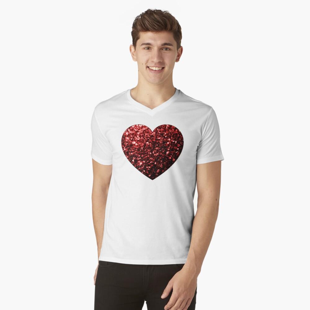 Glamour hermoso brillo rojo brilla Camiseta de cuello en V