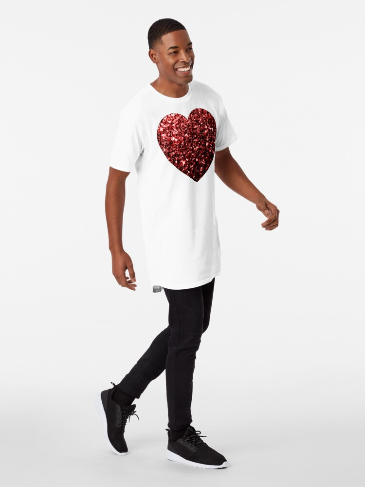Vista alternativa de Camiseta larga Glamour hermoso brillo rojo brilla