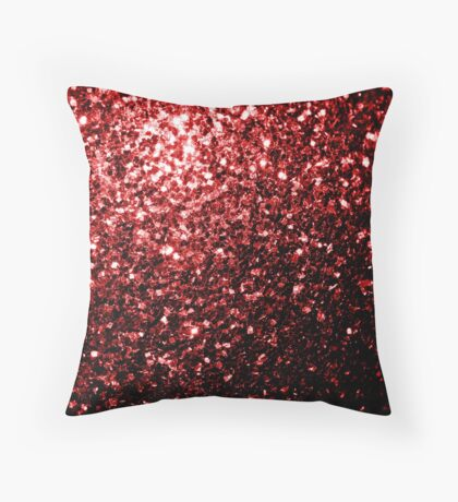 Beautiful Glamour Red Glitter sparkles Throw Pillow