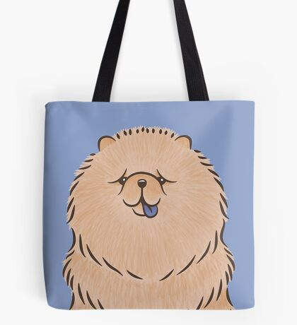 Chow Chow Puppy Dog with Purple Grape Tongue Tote Bag