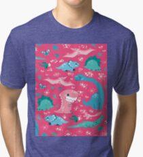 Dino Cutie Pattern in Pink Tri-blend T-Shirt