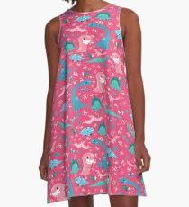Dino Cutie Pattern in Pink A-Line Dress