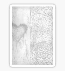 Trendy half heart floral grey art  Sticker