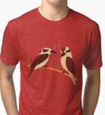 Cute illustration of romantic Laughing Kookaburra birds, kingfishers in love Tri-blend T-Shirt