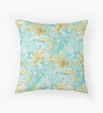 Hakea, Yellow Ochre and Aqua Blue Throw Pillow
