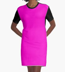 Bright Neon Fluorescent Pink | Solid Colour Graphic T-Shirt Dress