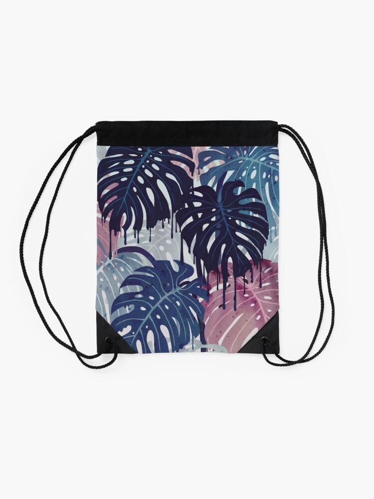 Alternate view of Monstera Melt Drawstring Bag