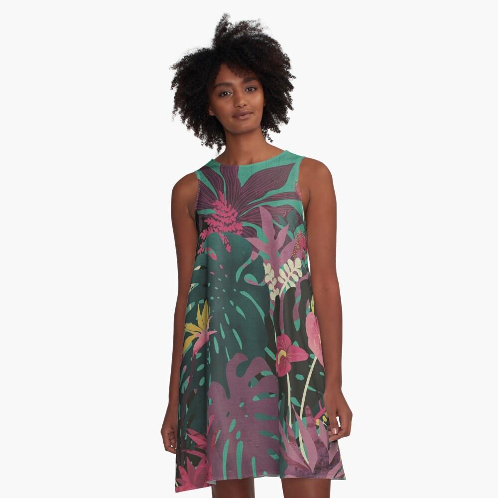 Tropische Tendenzen A-Linien Kleid