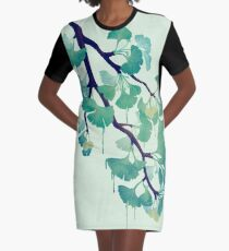 O Ginkgo (in Green) Graphic T-Shirt Dress