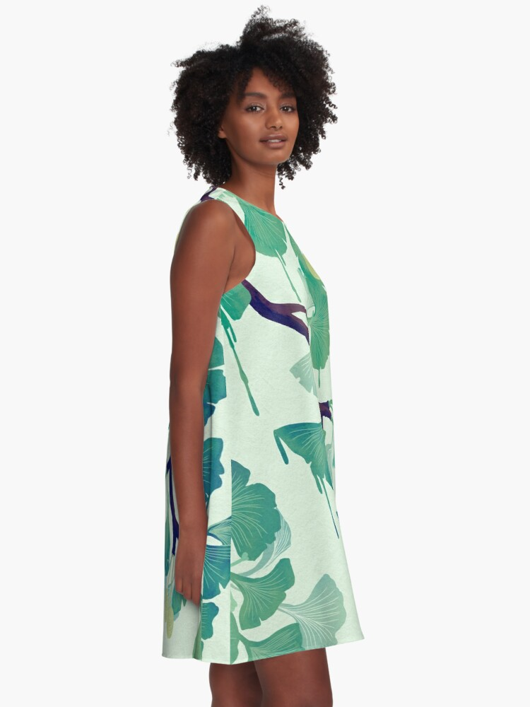 Alternate view of O Ginkgo (in Green) A-Line Dress
